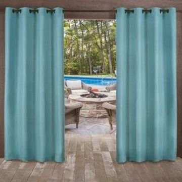 ATI Home Delano Indoor/Outdoor Grommet Top Curtain Panel Pair (54X120 - 120 Inches - Teal)