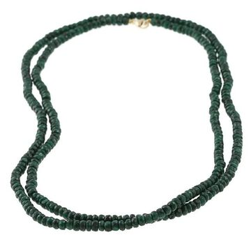 DaVonna 14k Yellow Gold Green Emerald Roundel 36-inch Necklace (3-4 mm)