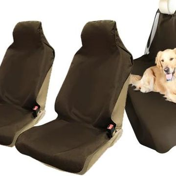 Coverking Seat Shield Canvas Seat Covers in Tan, Front & Rear Seat Cover Set