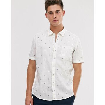 Esprit slim fit shirt with parrot print-White