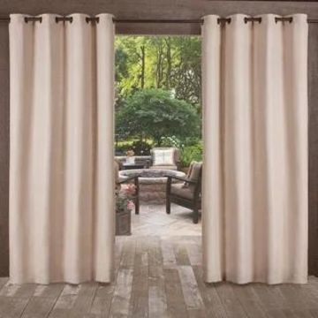 ATI Home Delano Indoor/Outdoor Grommet Top Curtain Panel Pair (54X84 - 84 Inches - taupe)
