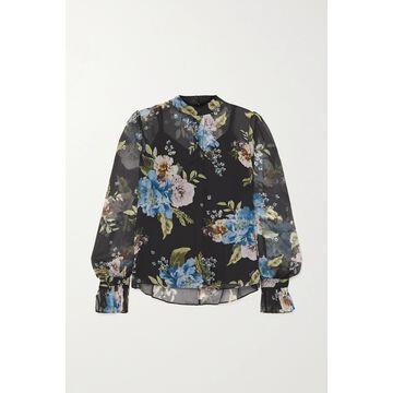 Erdem - Barnaby Floral-print Silk-voile Blouse - Black