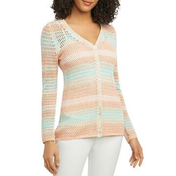 Foxcroft Womens Laurie Open Stitch Button-Down Cardigan Sweater