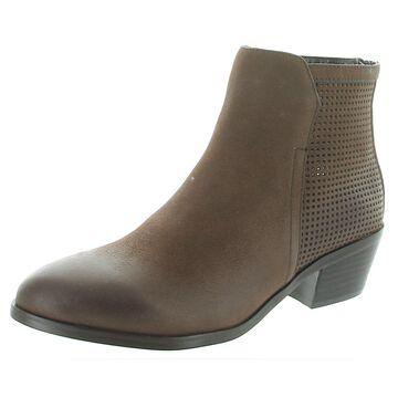 David Tate Womens Kaci Booties Leather Stacked Heel