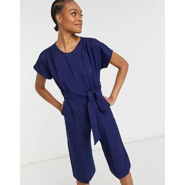 Closet London cap sleeve tie waist wide leg jumpsuit in navy