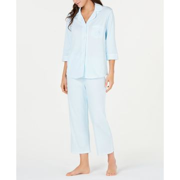 Cottonessa Knit Notch Collar Top and Cropped Pajama Pants Set