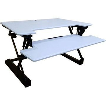 Hanover 35-In. Wide White Tabletop Sit or Stand Lift Desk with Adjustable Height for Offices, Schools, and Writing Stations