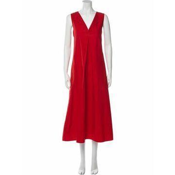 V-Neck Long Dress Red