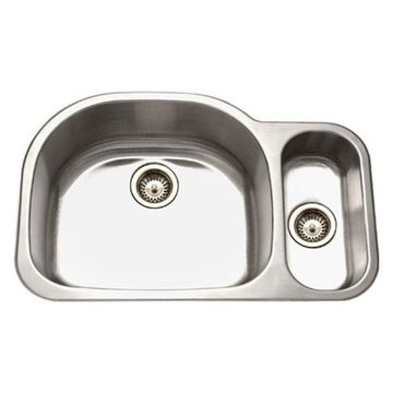 Houzer MG-3209SR-1 Medallion Stainless Steel 70/30 Double Bowl Sink, Small Right
