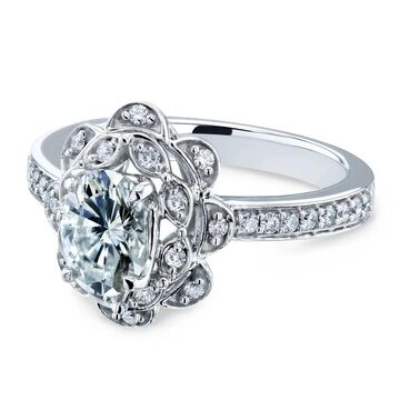 Annello by Kobelli 14k White Gold 1 1/6ct TGW Oval Moissanite and Diamond Halo Floral Vintage Engagement Ring (HI/VS, GH/I)