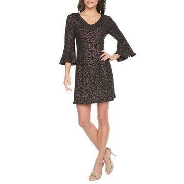 MSK 3/4 Bell Sleeve Floral Glitter Dot Shift Dress