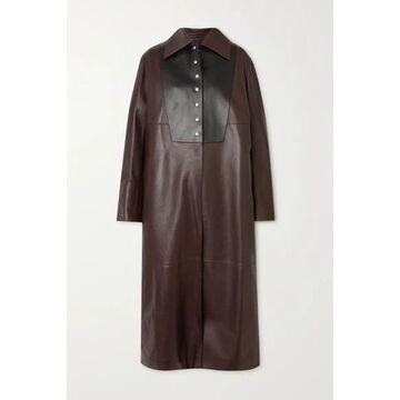 Loewe - Two-tone Leather Coat - Brown