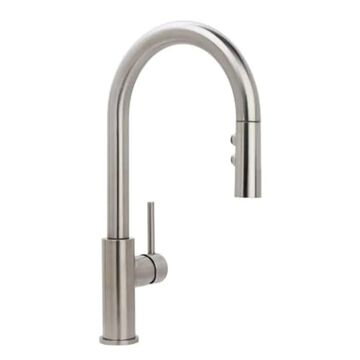 Miseno Mia Stainless Steel 1-Handle Deck-Mount Pull-Down Handle Kitchen Faucet (Deck Plate Included)   MNO191DSS