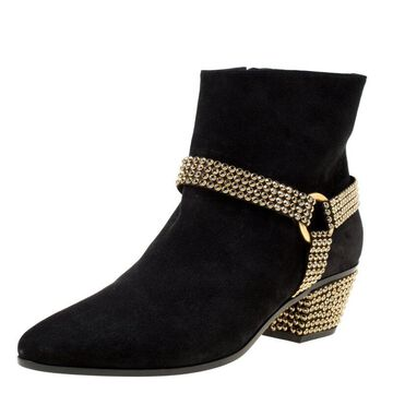 Rene Caovilla Black Suede Crystal Embellished Pointed Toe Ankle Boots Size 40