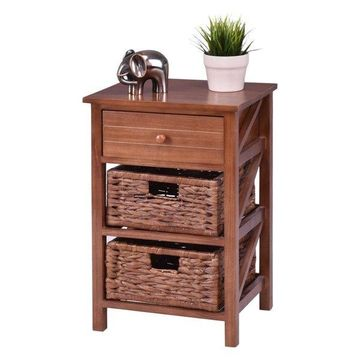 Costway 3 Tiers Wood Nightstand 1 Drawer 2 Basket Bedside End Table Organizer