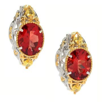 Michael Valitutti Palladium Silver Andesine & Yellow Sapphire Hoop Earrings