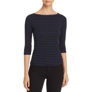 Three Dots Womens Mykonos Striped Crew Neck T-Shirt