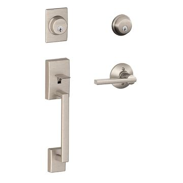 Schlage F Century Latitude Lever Satin Nickel Double-Cylinder Deadbolt Traditional Entry Door Handleset