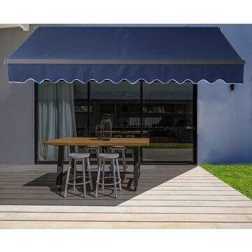 ALEKO Motorized 16'x10' Black Frame Retractable Home Patio Canopy Awning Blue