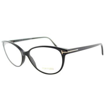 Tom Ford FT 5421 001 Soft Cat-Eye Black Plastic Cat-Eye Eyeglasses 53mm