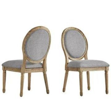 Deana Round Linen and Pine Wood Dining Chairs (Set of 2) by iNSPIRE Q Artisan