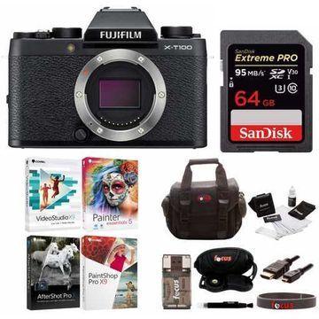 Fujifilm X-T100 Mirrorless Camera (Black) with 64GB Card and Accessories Bundle