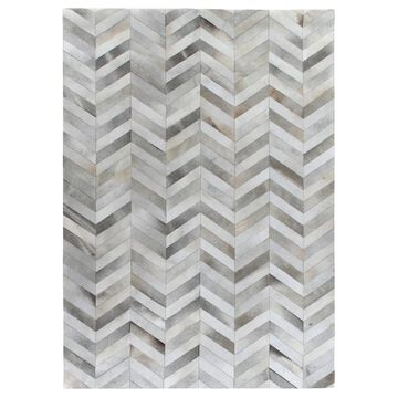 Exquisite Rugs Chevron Hide Silver / White Leather Hair-on Hide Rug (8' x 11') - 8' x 11'