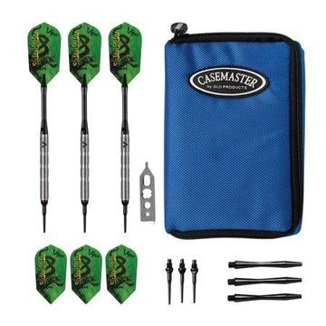Viper Sidewinder Tungsten Soft Tip Darts Ringed Barrel 18 Grams and Casemaster Select Blue Nylon Dart Case