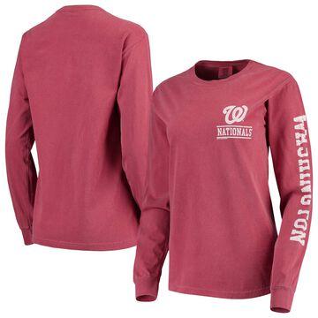 Washington Nationals Soft as a Grape Women's Pigment Dye Comfort Color Long Sleeve T-Shirt - Red