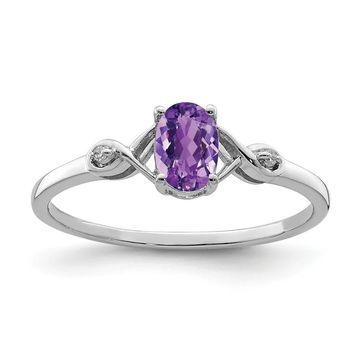 Sterling Silver Rhodium-plated Diamond and Amethyst Oval Ring by Versil (9)