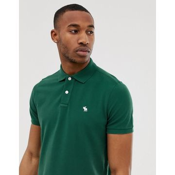 Abercrombie & Fitch icon logo pique polo in green