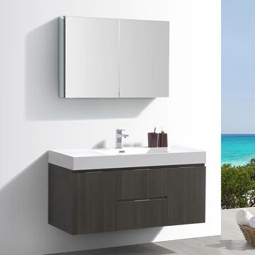 Fresca Senza 48-in Gray Oak Single Sink Bathroom Vanity with White Acrylic Top (Faucet Included) | FVN8348GO