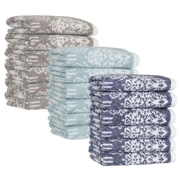 Authentic Hotel and Spa Margot Turkish Cotton Jacquard Washcloth (Set of 6)