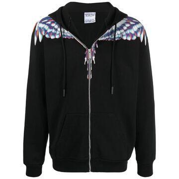 Wings-print zip-up hoodie