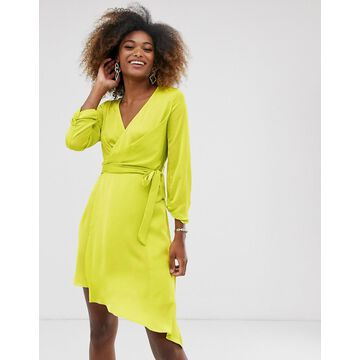 Liquorish mini wrap dress with tie waist belt-Green