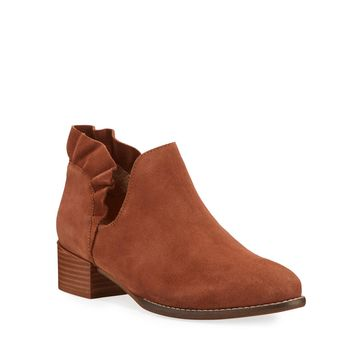 Renowned Suede Ruffle Booties