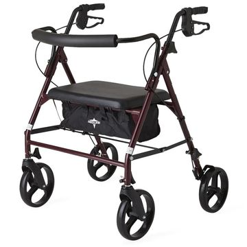 Medline Standard 500 lb Capacity Heavy-duty Bariatric Rollator Walker (Red)