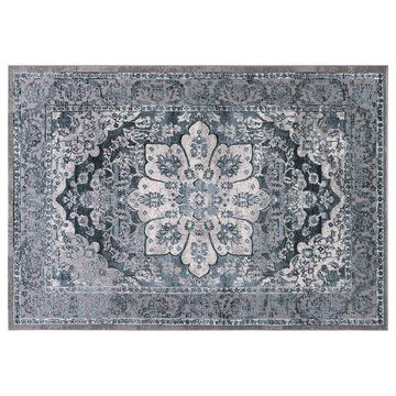 Concord Global Thema Serapi Framed Floral Rug, Turquoise/Blue, 8X10.5 Ft