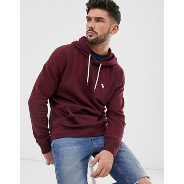 Abercrombie & Fitch icon logo hoodie in burgundy-Red