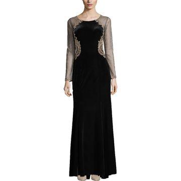 Xscape Womens Velvet Embellished Evening Dress