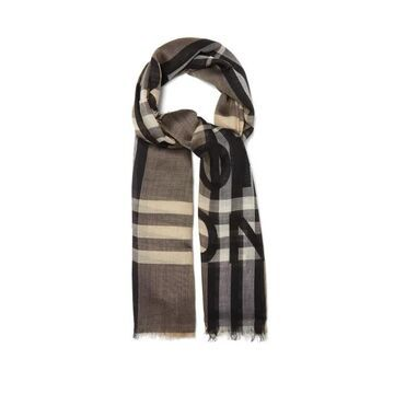 Burberry - Horseferry Logo-print Checked Wool-blend Scarf - Womens - Brown Multi