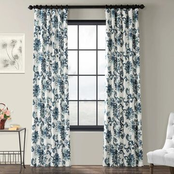 Exclusive Fabrics Indonesian Blue Printed Cotton Twill Curtain Panel