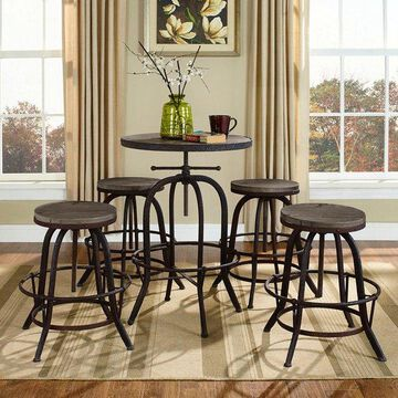 Modway Modway Gather 5-Piece Dining Set, Brown