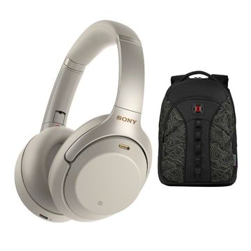 Sony WH1000XM3 Wireless Noise-Canceling Headphones (Silver) w/ Wenger Laptop Bag