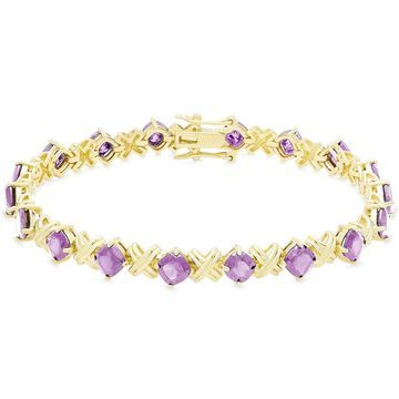 Dolce Giavonna Gold Over Sterling Silver Cushion Cut Gemstone XO Link Bracelet