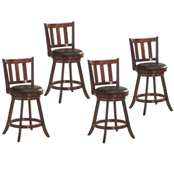 Goplus Costway Set of 4 Brown Tall (36-in and up) Upholstered Swivel Bar Stool Leather | 2HW61764