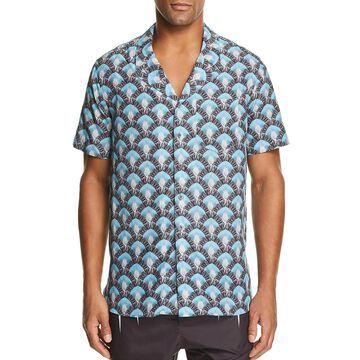 Neil Barrett Mens Button-Down Shirt Printed Loose Fit - Black/Azure