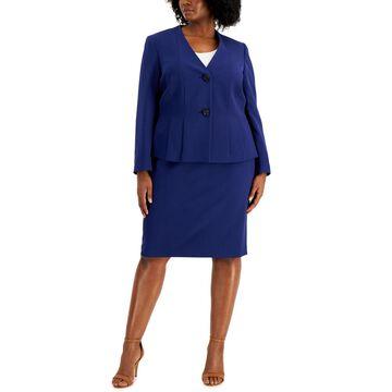 Le Suit Plus Size Crepe Skirt Suit