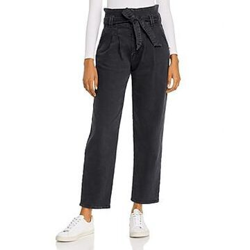 Mother The Greaser Paperbag-Waist Wide-Leg Jeans in Faded Black