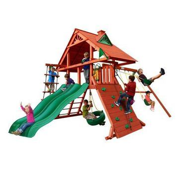 Gorilla Playsets Sun Palace Extreme Wooden Swing Set with 2 Slides, Rock Climbing Wall, and Tire Swing